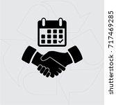 calendar flat icon   handshake... | Shutterstock .eps vector #717469285