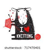 i love knitting sheep print...   Shutterstock .eps vector #717470401