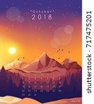 october   2018 calendar... | Shutterstock .eps vector #717475201