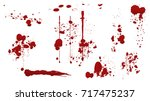 set of various dripping blood... | Shutterstock .eps vector #717475237