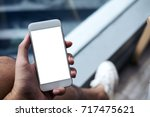 mockup image of a man's hand... | Shutterstock . vector #717475621