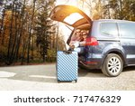 autumn trip of car and two...   Shutterstock . vector #717476329