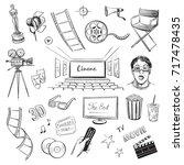 a collection of vector sketches ... | Shutterstock .eps vector #717478435