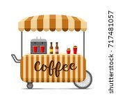 hot coffee street food cart.... | Shutterstock .eps vector #717481057