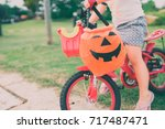Little Girl Ride Bicycle And...