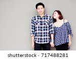 portrait lovely couple  a... | Shutterstock . vector #717488281