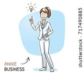 happy young woman in business... | Shutterstock .eps vector #717490885