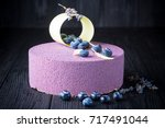 delicious lavender cake with... | Shutterstock . vector #717491044