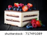 delicious cake with fruit and... | Shutterstock . vector #717491089