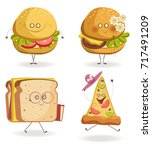 cheerful fast food cartoon... | Shutterstock .eps vector #717491209