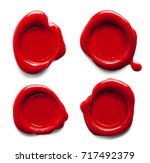 red wax seals isolated on white ... | Shutterstock . vector #717492379