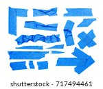 blue pieces of tape isolated on ...   Shutterstock . vector #717494461