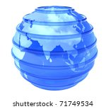 Blue glassy transparent planet Earth with lines parallel. 3D object focused in Asia on white background. - stock photo