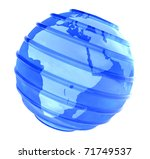 Blue Earth globe with glassy parallel lines with Africa view on white background. - stock photo