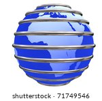 Blue Earth Planet in jail by metal bars focused in Africa on white background. - stock photo
