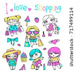 vector  cute fashion girls with ... | Shutterstock .eps vector #717499114