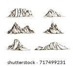 collection of mountains hand... | Shutterstock .eps vector #717499231
