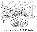 freehand drawing of open space... | Shutterstock .eps vector #717503404