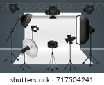 photo studio with camera ... | Shutterstock .eps vector #717504241