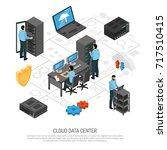 cloud data center isometric... | Shutterstock .eps vector #717510415