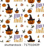 halloween seamless pattern... | Shutterstock .eps vector #717510439
