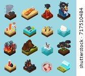 global warming set of... | Shutterstock .eps vector #717510484