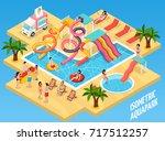 colored water park aquapark... | Shutterstock .eps vector #717512257