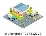 warehouse outside view with... | Shutterstock .eps vector #717512329