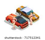 street racing drift isometric... | Shutterstock .eps vector #717512341