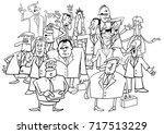 black and white cartoon... | Shutterstock . vector #717513229