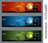 halloween colorful vector... | Shutterstock .eps vector #717514489