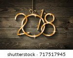2018 happy new year seasonal... | Shutterstock . vector #717517945