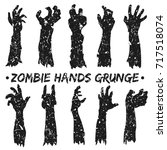 Zombie Hands Silhouette Grunge...
