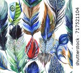 watercolor bird feather pattern ... | Shutterstock . vector #717521104