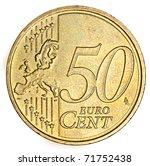 Fifty Euro Cent On White...