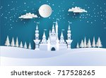 great castle on a snowy winter... | Shutterstock .eps vector #717528265