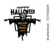 happy halloween. scarecrow with ... | Shutterstock .eps vector #717533635