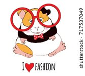 guinea pig in red round glasses. | Shutterstock .eps vector #717537049