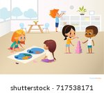 smiling kids doing different... | Shutterstock . vector #717538171