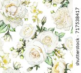 Stock photo seamless pattern with flowers and leaves on white background watercolor floral pattern flower 717538417