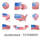flag collection   usa set | Shutterstock .eps vector #717540055