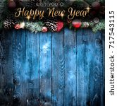 2018 happy new year and  merry... | Shutterstock . vector #717543115
