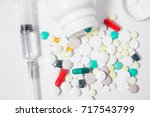 various medicines and vitamins  ... | Shutterstock . vector #717543799