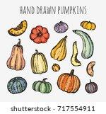 drawing pumpkins  melon ... | Shutterstock .eps vector #717554911
