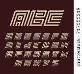 geometric white color alphabet... | Shutterstock . vector #717555319