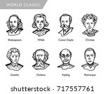 famous world writers  vector... | Shutterstock .eps vector #717557761