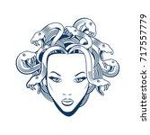 medusa gorgon portrait. vector... | Shutterstock .eps vector #717557779