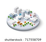 isometric city with skyscrapers ... | Shutterstock .eps vector #717558709