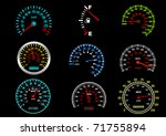 Set of car speedometers for racing design. Vector version also available in gallery - stock photo