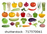 all vegetables set. pumpkin and ... | Shutterstock .eps vector #717570061